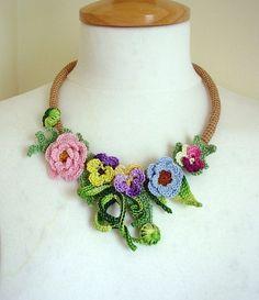 Pansies crochet necklace choker floral flower cotton. $25.50, via Etsy.