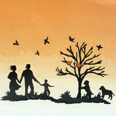 Die Cut Shapes of Family Silhouette Bare Tree Grass by MelAriandme
