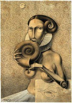 Dmitry Vorsin «Пожирательница раковин» 35х50. Тушь. 2009