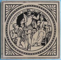"""One of the series of 24 scenes from plays by Shakespeare designed by John Moyr Smith for Mintons China Works, pattern No. 1408. Depicted here is: """"Taming of the Shrew, Act IV, scene iii"""". The tile is..."""