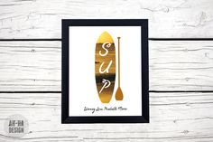 SUP  Stand Up Paddleboarding Graphic Print  Digital by AhHaDesign