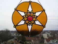 Sunburst Stained Glass Suncatcher  Amber by CreativeSpiritGlass, $48.00