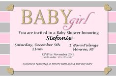 Baby Shower Invitation - Baby Girl Gold Glitter (Digital)