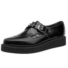T.U.K. Shoes Black Leather Spiked Monk Buckle Pointed Creepers