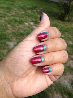Reverse Ruffian Manicure featuring Zoya Nail Polish in Zuza (blue) and Zoya Kimber (pink)