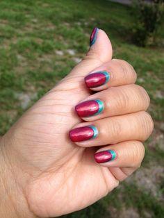 Reverse Ruffian Manicure featuring Zoya Nail Polish in Zuza (blue) and Zoya Kimber (pink)
