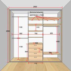 размеры встроенного шкафа купе в спальню