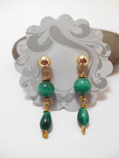 Earrings : E111414kt GF Malachite Ball Stud Earrings