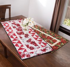 Robert Kaufman Holiday Flourish Wishlist Table Runner - White