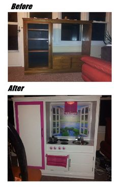 Entertainment Center Upcylcled to a kids Kitchen! Repurposed, DIY kids kitchen!