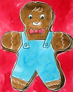 Gingerbread Boy. Try adding clothing and lots of white crayon for an extra frosty look. #artprojectsforkids