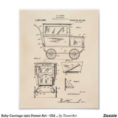 Baby Carriage 1921 Patent Art - Old Peper Poster