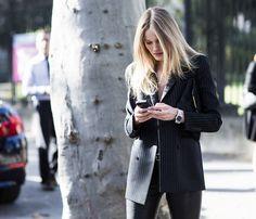 Pinstripe blazer #streetstyle