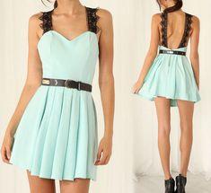 The new blue lace sleeveless dress WE5706P