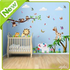 #Animal wall stickers #monkey #jungle zoo tree nursery baby kids bedroom decals a,  View more on the LINK: 	http://www.zeppy.io/product/gb/2/301134320436/