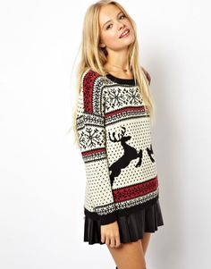 Buy ASOS Christmas Jumper in Reindeer Fairisle at ASOS. With free delivery and return options (Ts&Cs apply), online shopping has never been so easy. Get the latest trends with ASOS now. Christmas Sweater Dress, Reindeer Sweater, Ugly Sweater, Pullover Sweaters, Women's Cardigans, Sweater Skirt, Sweatshirt, Christmas Jumpers, Christmas Sweaters