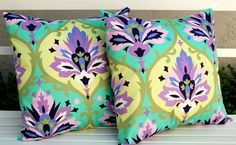 Amy Butler Pillows Love Trumpet Pillow Covers  - 18 x 18 Inch Toss Pillow Cushion Covers. $45.00, via Etsy.