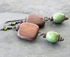 Olive Green Brown Copper Earrings Ceramic Oval by dreambelledesign, $33.00