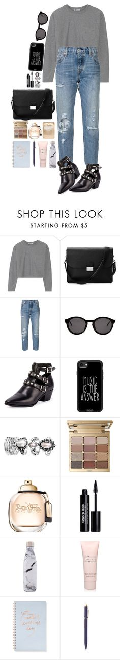 """Find the answer."" by krys-imvu ❤ liked on Polyvore featuring T By Alexander Wang, Aspinal of London, Levi's, Thierry Lasry, Yves Saint Laurent, Casetify, Stila, Edward Bess, West Elm and Jimmy Choo"