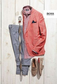 Great red spring look - Hugo Boss Der Gentleman, Gentleman Style, Mode Outfits, Casual Outfits, Men Casual, Mode Masculine, Looks Style, Casual Looks, Spring Look