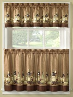 Coffee Themed Kitchen Curtains Tiers Valance Set Complete