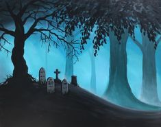 Dirt Nap in the Woods - grave painting Step By Step Painting, Halloween Art, Cartoon Styles, Artsy Fartsy, Northern Lights, Art Projects, Graffiti, Arts And Crafts, Canvas