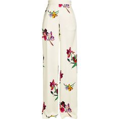 Etro High-Waisted Printed Crepe Pants ($860) ❤ liked on Polyvore featuring pants, florals, white crepe pants, evening pants, white pants, floral pants and white high waisted trousers