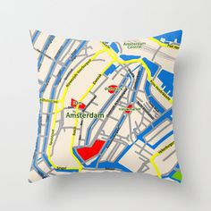 Amsterdam Map design Throw Pillow by Efratul Amsterdam Map, Map Design, Designer Pillow, Travel Style, Style Guides, Folk, Typography, Throw Pillows, Crafty