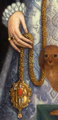 Steven van der Meulen c.1543-1564 - Portrait of a Woman, detail.