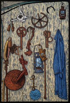 """The Cottage Wall Khandallah"" linocut by Rachel Newling. http://rachelnewling.com/"