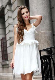 Sweetheart Flounce Embellished Vintage White Dress
