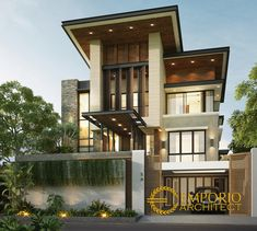 Arnold Private House Design II - Jakarta- Quality house design of architectural services, experienced professional Bali Villa Tropical designs from Emporio Architect. Indian Architecture, Space Architecture, Minimalist House Design, Modern House Design, Villa Design, Floor Design, Jakarta, Plane 2, Modern Tropical House