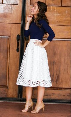 A fully lined crochet mid length skirt with punched crochet finish and full satin lining available in pink and black - Street Fashion, Casual Style, Latest Fashion Trends - Street Style and Casual Fashion Trends Mode Outfits, Trendy Outfits, Dress Outfits, Summer Outfits, White Skirt Outfits, White Skirts, Church Outfit Summer, Modest Church Outfits, A Line Skirt Outfits