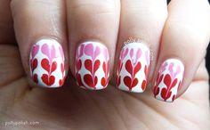 Drag marble hearts on Models Own Hyper Gel 'White Light' nail polish on pollypolish.com