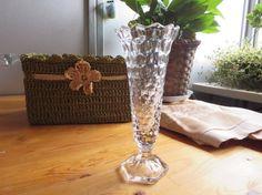 Vintage Fostoria Clear Crystal Bud Vase with Hexagonal Base American Pattern #2056