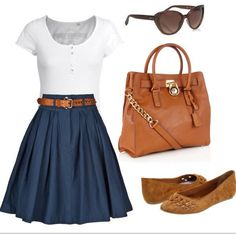 Summer outfit : skirt and flats
