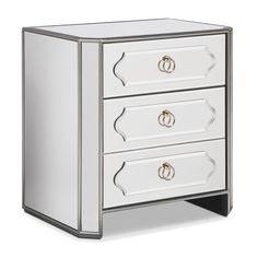$499 30w x 17D x 29H - The Harlow bedside chest brings chic glamour back. By its very nature this nightstand amplifies the size of any room, and, wrapped in mirrors, it makes your bedroom bright and airy. Nickel ring hardware really pops against the silver painted wood framework and mirror facades. Deep drawers provide ample bedside storage, and rounded front corners soften the angles.