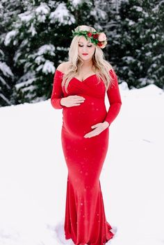 red dress maternity shoot in the snow winter photography floral crown sophisticated floral Portland Oregon Photography by spotted:stills Portland