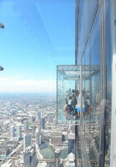 """The Skydeck is located on the 103 rd floor of the Willis (formerly Sears) Tower and it is the highest observatory in Chicago (488m). On a clear day, you can see 40-50 miles. The latest addition to the Skydeck is the Sky Ledge that allows you to step out into a """"glass box"""" to take in a freely view directly below your feet."""