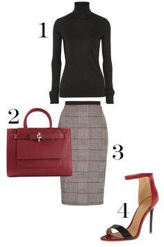 1. Totême Courchevel Micro Modal and Cashmere-Blend Turtleneck Top, $140; net-a-porter.com. 2. Carven Medium Tote, $709.97; farfetch.com. 3. Topshop Prince of Wales Checked Tube Skirt, $45; topshop.com. 4. L.A.M.B. Women's Destiny Dress Sandal, $235; amazon.com.