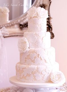Lace Wedding Cake ~ beautiful~❥