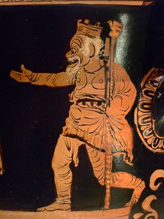 Red-figured Bell Krater with a scene of Phlyax actors Greek made in Apulia South Italy 370-360 BCE attributed to the Cotugno Painter. Zeus.