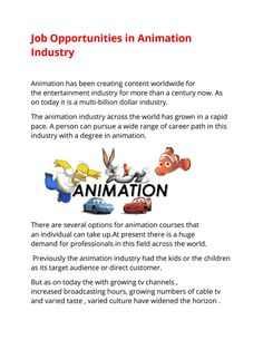 Job Prospect In Animation Industry