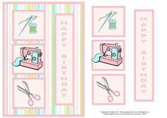 Sewing / seamstress card on a brightly coloured background with optional decoupage.