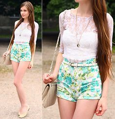 White lace--Ariadna Shorts:http://www.awwdore.com/bottoms/floral-skyline-shorts