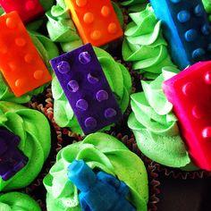 Choc mud Lego cupcakes