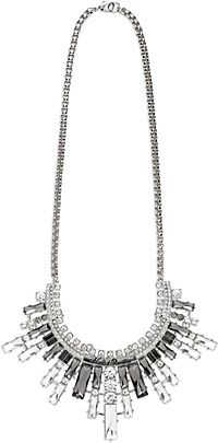 """Crystal Statement Necklace - Solid brass is rhodium plated. Chunky chain with engraved graphics and statement design featuring crystal pave stone with clear and black faceted crystals. 20"""" plus 3"""" extender. Lobster claw. Nickel free. 97824-16VW"""