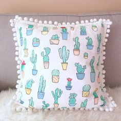 Cactus Pillow Decorative Pillow Cover Handpainted Cactus by Rizkie #DecorativePillows