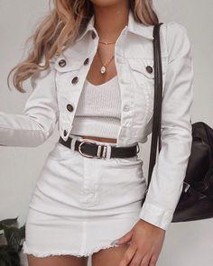 Summer Fashion White On White Denim Look Fashion, Teen Fashion, Fashion Outfits, Womens Fashion, Fashion Trends, Fashion Clothes, Fashion Ideas, White Fashion, Fashion Boots