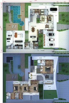 Projeto de mansão contemporânea - Projetos de Casas, Modelos de Casas e Fachadas de Casas
